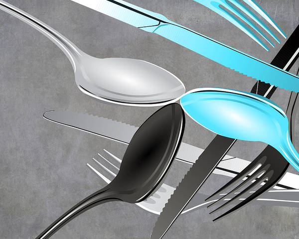Eating Mixed Media - Fork Knife Spoon 4 by Angelina Tamez