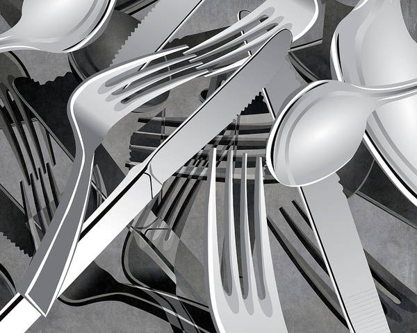 Eating Mixed Media - Fork Knife Spoon 7 by Angelina Tamez