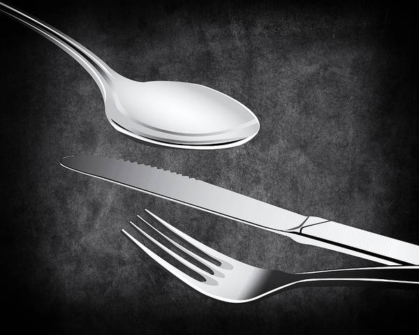 Eating Mixed Media - Fork Knife Spoon by Angelina Tamez
