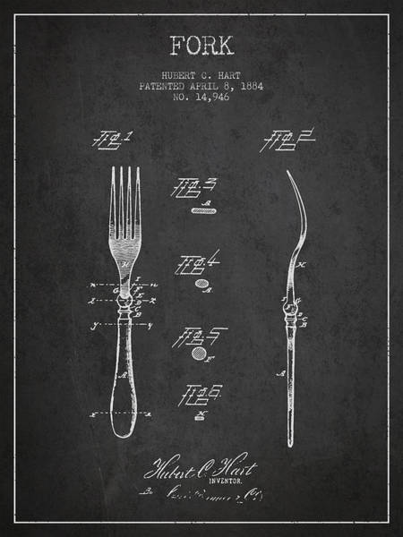 Fork Digital Art - Fork Patent From 1884 - Dark by Aged Pixel