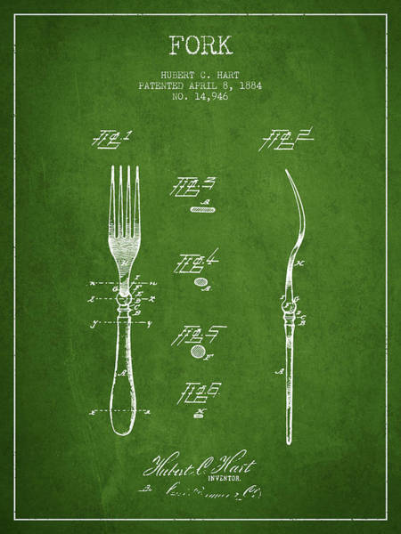 Fork Digital Art - Fork Patent From 1884 - Green by Aged Pixel