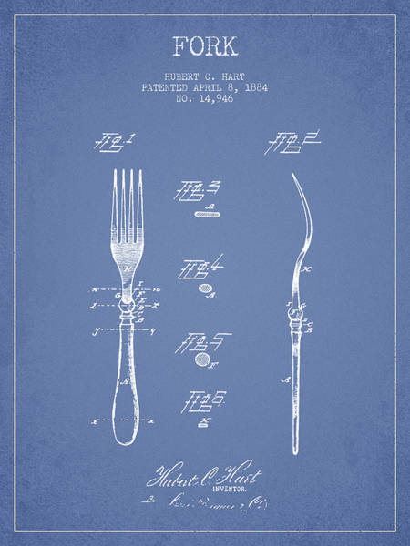 Fork Digital Art - Fork Patent From 1884 - Light Blue by Aged Pixel