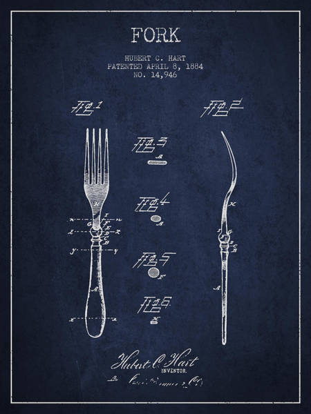 Fork Digital Art - Fork Patent From 1884 - Navy Blue by Aged Pixel