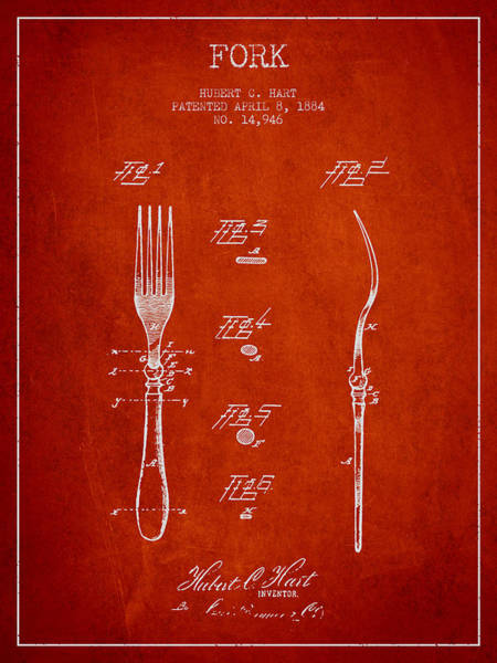 Fork Digital Art - Fork Patent From 1884 - Red by Aged Pixel
