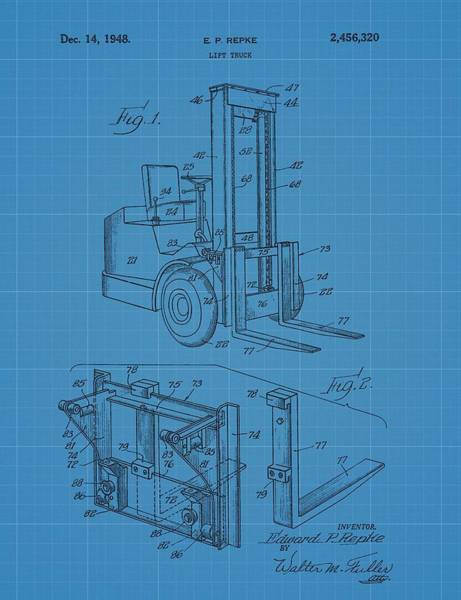 Wall Art - Mixed Media - Forklift Blueprint Patent by Dan Sproul