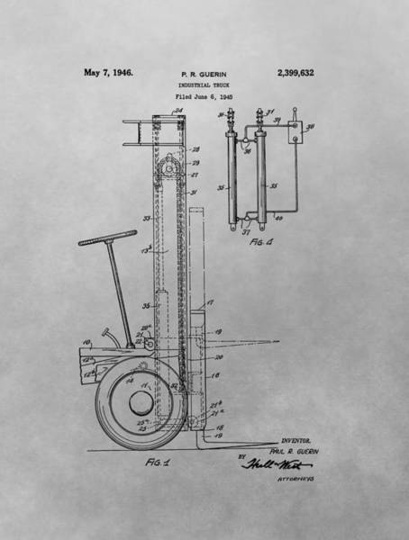 Wall Art - Drawing - Forklift Patent Drawing by Dan Sproul