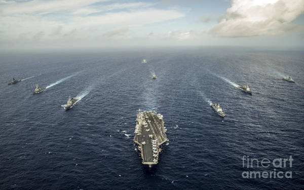 Uss George Washington Wall Art - Photograph - Formation Of Ships From The U.s. Navy by Stocktrek Images
