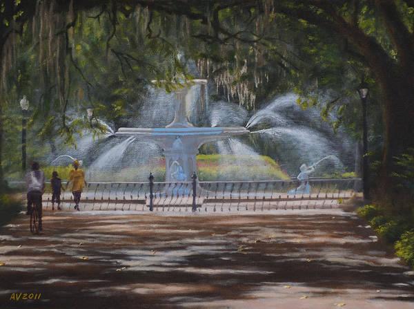 Savannah Painting - Forsyth Park Fountain Savannah Ga by Alex Vishnevsky