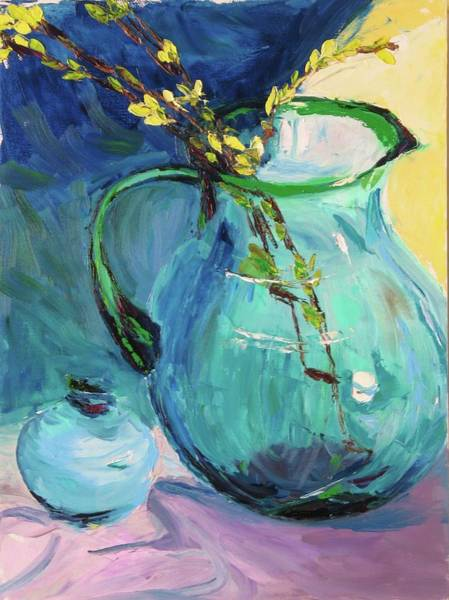 Forsythia Painting - Forsythia In A Glass Jar by Nicolas Bouteneff