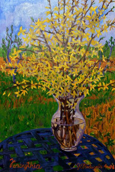 Forsythia Painting - Forsythia by Jim  Rudegeair