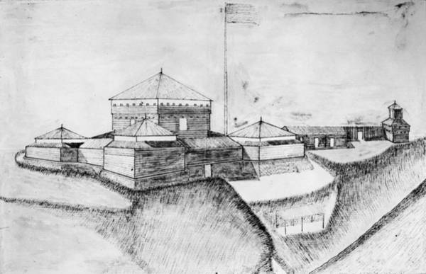 Ohio River Drawing - Fort Franklin, 1780s by Granger