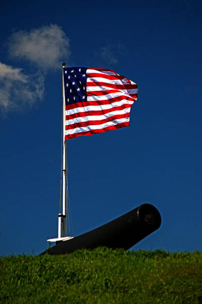 Photograph - Fort Mchenry Flag And Cannon by Bill Swartwout Photography