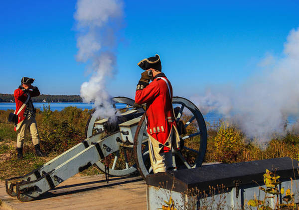 Michilimackinac Wall Art - Photograph - Fort Michilimackinac Cannon Firing by Rachel Cohen