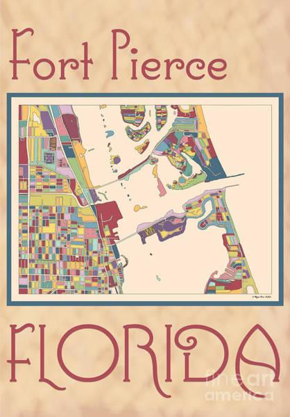 Digital Art - Fort Pierce Map by Megan Dirsa-DuBois
