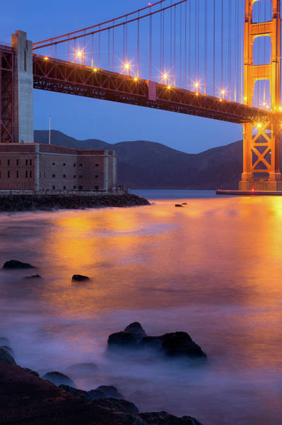 Headlands Photograph - Fort Point And Golden Gate Bridge At by Zeiss4me
