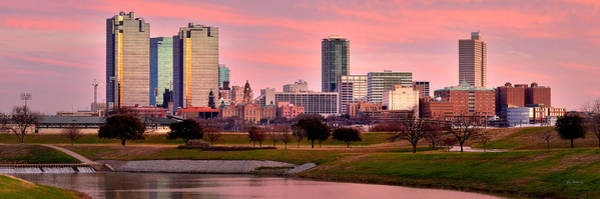Fort Worth Skyline At Dusk Evening Color Evening Panorama Ft Worth Texas  Art Print