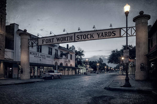 Road Sign Photograph - Fort Worth Stockyards Bw by Joan Carroll
