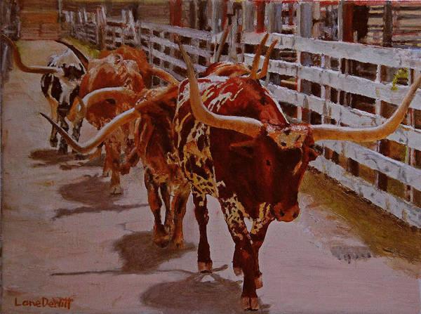 Longhorn Painting - Fort Worth Stockyards by Lane DeWitt