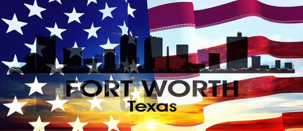Mixed Media - Fort Worth Tx Patriotic Large Cityscape by Angelina Tamez