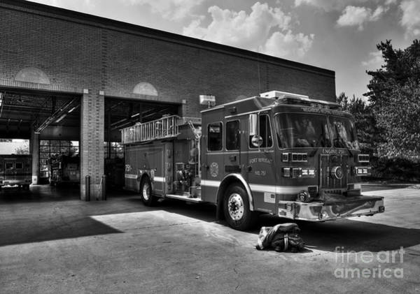 Photograph - Fort Wright Fire Station Bw by Mel Steinhauer
