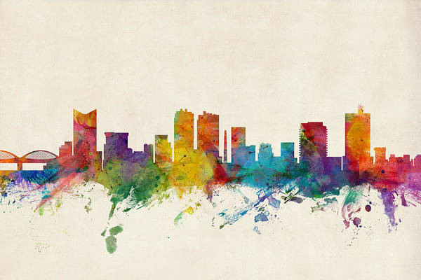 Watercolour Digital Art - Fort Worth Texas Skyline by Michael Tompsett