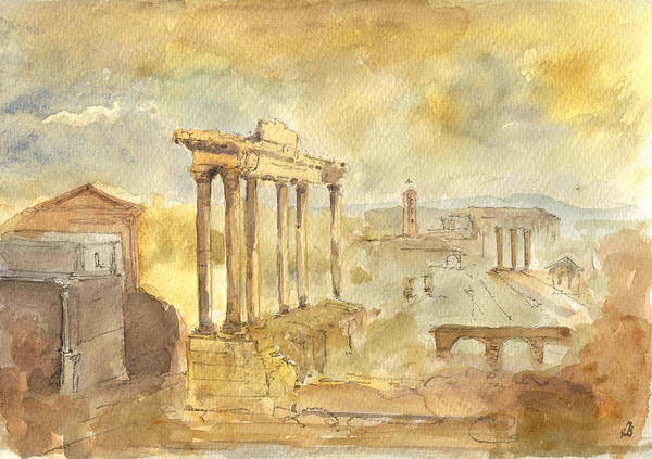 Antiques Painting - Forum Romano by Juan  Bosco
