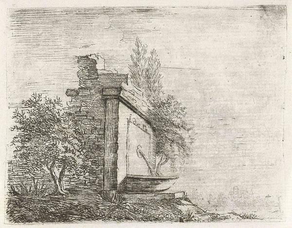 Crumble Drawing - Fountain Against Crumbling Wall, Baron Reinierus Albertus by Artokoloro