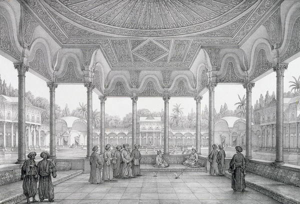 Columns Drawing - Fountain And Kiosk Of The Garden Of Choubrah by Pascal Xavier Coste