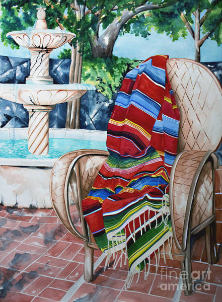 Painting - Fountain And Serape by Kandyce Waltensperger