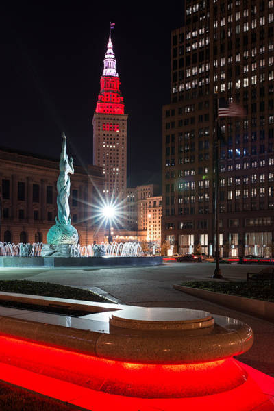 Photograph - Fountain And Terminal Tower In Red by Clint Buhler