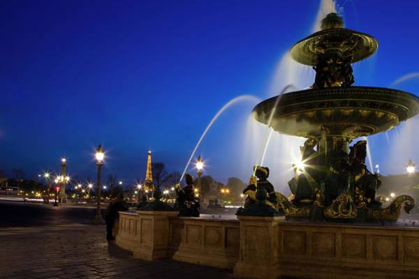 Concorde Photograph - Fountain At Place De La Concorde At by Tony Burns
