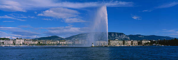 Lake Geneva Wall Art - Photograph - Fountain In Front Of Buildings, Jet by Panoramic Images