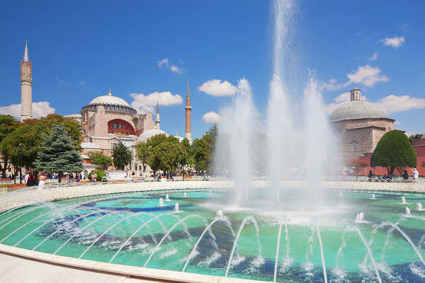 Hagia Sophia Photograph - Fountain In Sultan Ahmet Park, Hagia by Laurie Noble