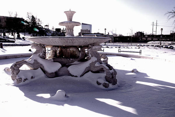 Photograph - Fountain In The Snow by Alice Gipson