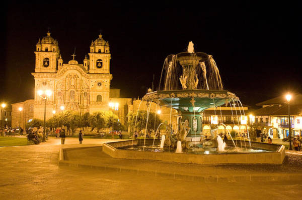 Cusco Photograph - Fountain Lit Up At Night At A Town by Panoramic Images