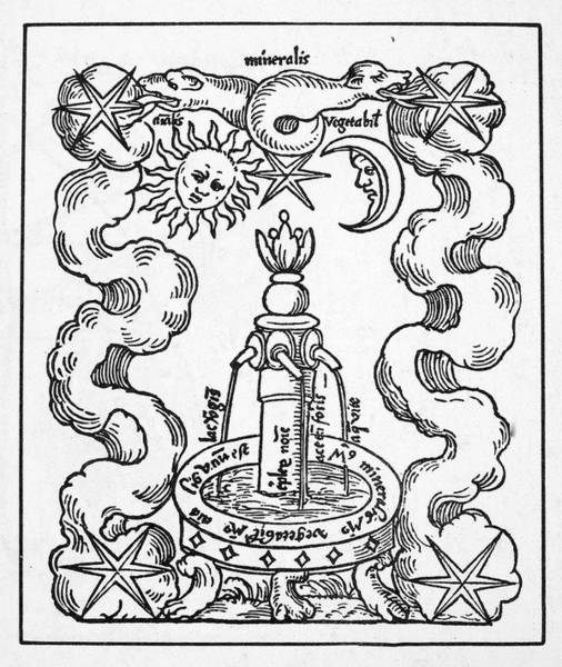 German Renaissance Drawing - Fountain Of Life, 1550 by Granger