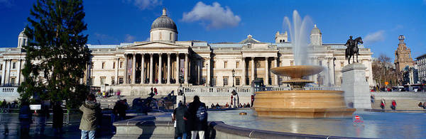 Trafalgar Photograph - Fountain With A Museum On A Town by Panoramic Images
