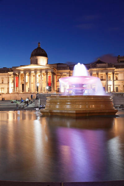 Trafalgar Photograph - Fountain With Art Museum by Panoramic Images