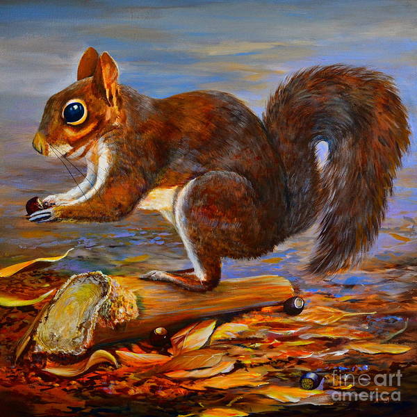 Painting - Four Acorns by AnnaJo Vahle