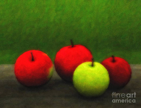 Digital Art - Four Apples by Jutta Maria Pusl