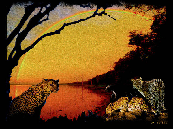 Black Panther Mixed Media - Four At Waterhole by Michael Pittas