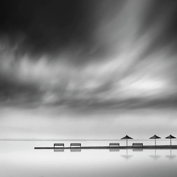 Wall Art - Photograph - Four Benches And Three Umbrellas by George Digalakis