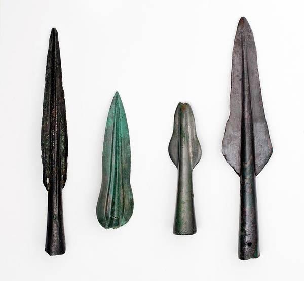 Bronze Age Wall Art - Photograph - Four Bronze Age Spear Heads by Paul D Stewart