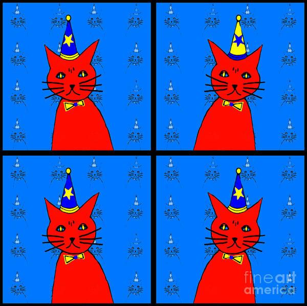 Dressed Up Mixed Media - Four Cats by Barbara Moignard