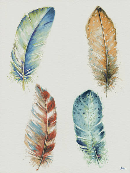 Feather Mixed Media - Four Colorful Feathers by Patricia Pinto
