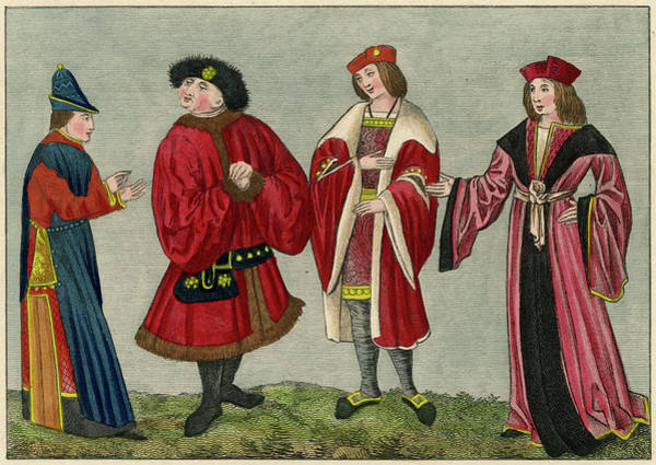 Courtiers Drawing - Four Courtiers In A Variety Of by Mary Evans Picture Library