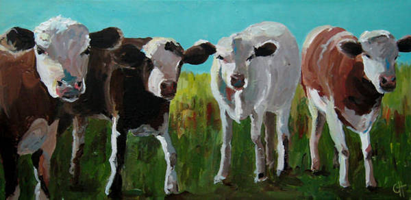 Wall Art - Painting - Four Cows by Cari Humphry