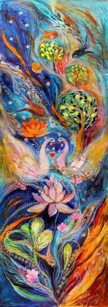 Gematria Wall Art - Painting - Four Elements Water by Elena Kotliarker