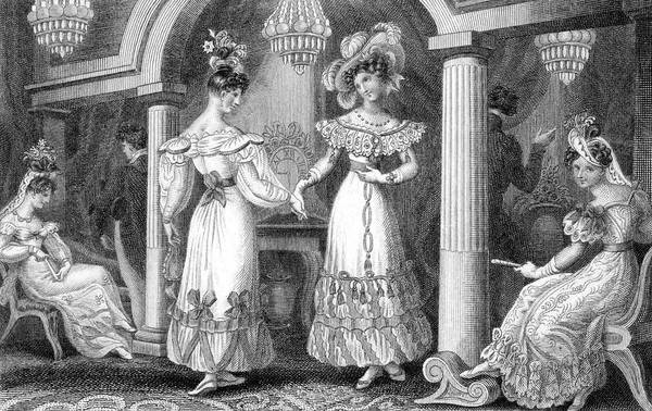 Wall Art - Drawing - Four Fashionable Ladies And  Two by Mary Evans Picture Library