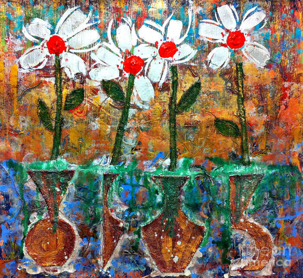 Painting - Four Flowers Four Vessels by Cleaster Cotton